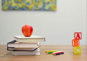learning objectives (books with an apple on it, penciles)