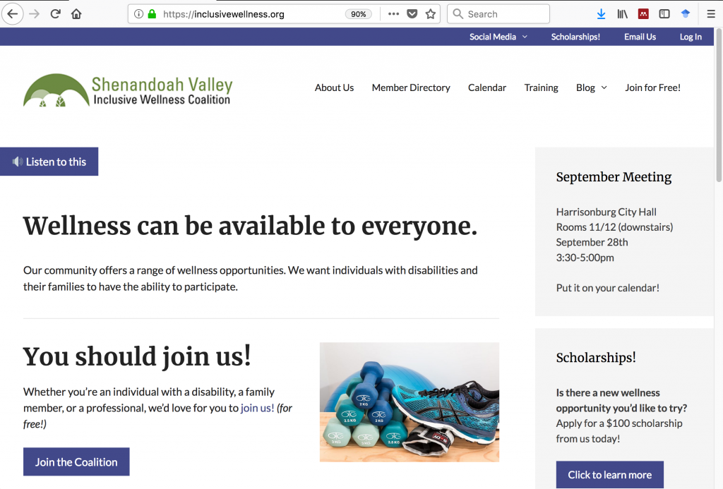 Shenandoah Valley Inclusive Wellness Coalition site