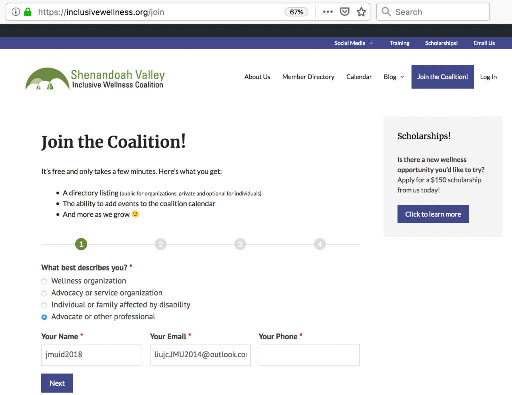 Join Coalition with email address